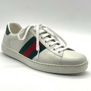 GUCCI Ace Leather Lace-Up Sneakers, 7 US